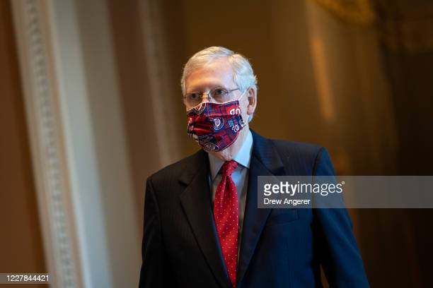 Senate Majority Leader Mitch McConnell walks to the Senate floor at the U.S. Capitol on July 30, 2020 in Washington, DC. Republicans and Democrats in...