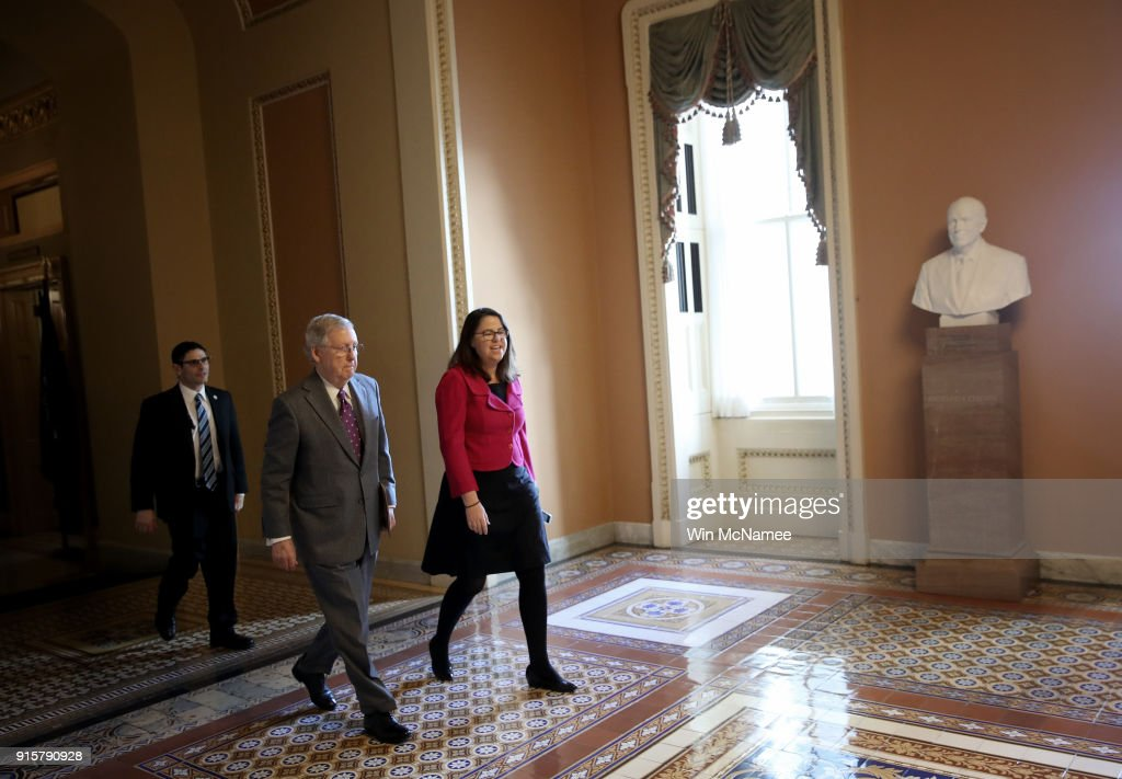 Senate Majority Leader Mitch McConnell (C) (R-KY) walks to the U.S. Senate chamber in the U.S. Capitol February 8, 2018 in Washington, DC. Both the Senate and the House of Representatives are expected to vote today on a long term funding bill following an agreement between Republican and Democratic leaders in the U.S. Senate.