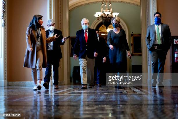 Senate Majority Leader Mitch McConnell wears a protective mask while walking to his office from the Senate Floor at the U.S. Capitol on December 11,...