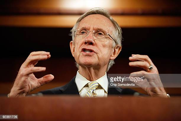 Senate Majority Leader Sen Harry Reid holds a news conference to announce the inclusion of the public option in the Senate's version of the health...