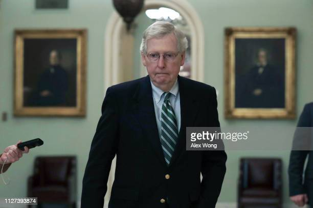 Senate Majority Leader Sen. Mitch McConnell arrives at the U.S. Capitol February 4, 2019 in Washington, DC. The Senate is schedule to vote on the...