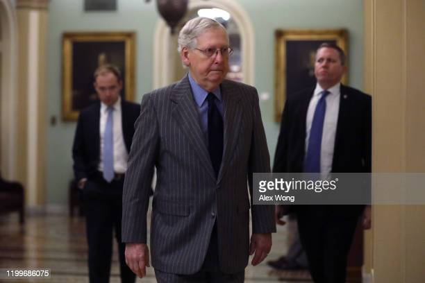 S Senate Majority Leader Sen Mitch McConnell arrives at the US Capitol January 15 2020 in Washington DC The House is expected to formally transmit...