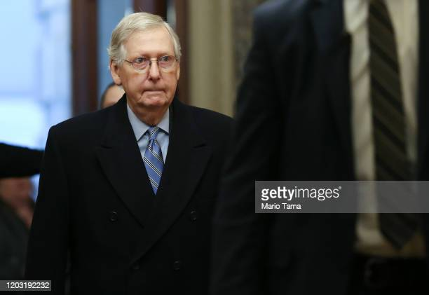Senate Majority Leader Sen Mitch McConnell arrives at the US Capitol as the Senate impeachment trial of US President Donald Trump continues on...