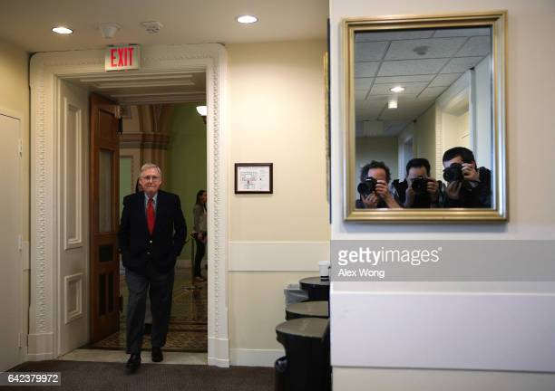 S Senate Majority Leader Sen Mitch McConnell arrives for a news conference at the Capitol February 17 2017 on Capitol Hill in Washington DC McConnell...