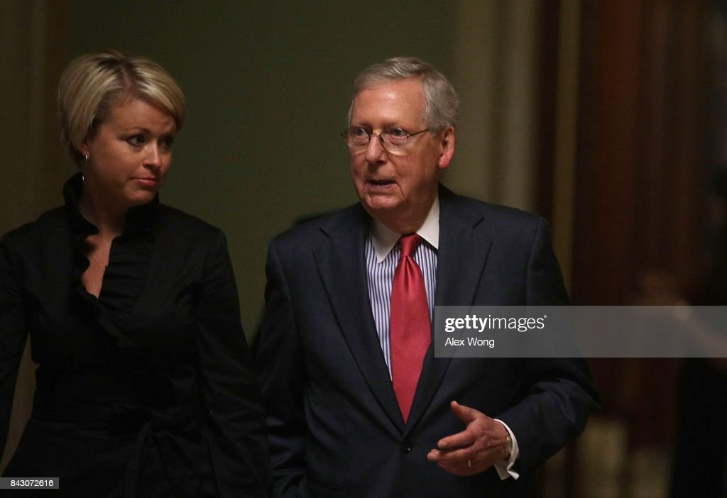 U.S. Senate Majority Leader Sen. Mitch McConnell (R-KY) leaves the Senate Chamber after a vote at the Capitol September 5, 2017 in Washington, DC. Congress is back from summer recess with a heavy legislative agenda in front of them.