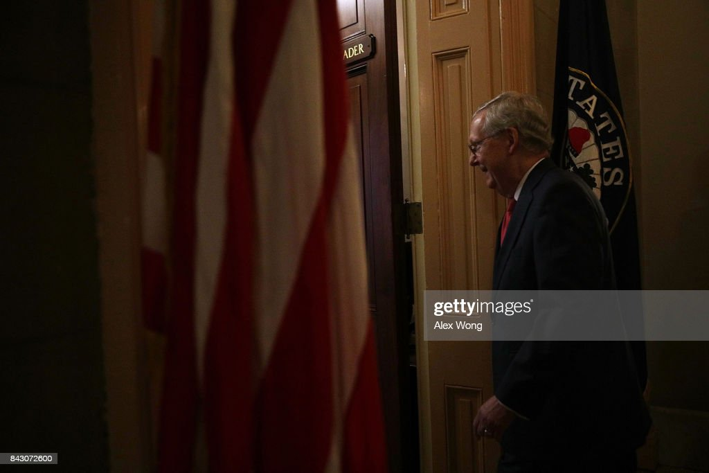 U.S. Senate Majority Leader Sen. Mitch McConnell (R-KY) returns to his office after a vote at the Capitol September 5, 2017 in Washington, DC. Congress is back from summer recess with a heavy legislative agenda in front of them.