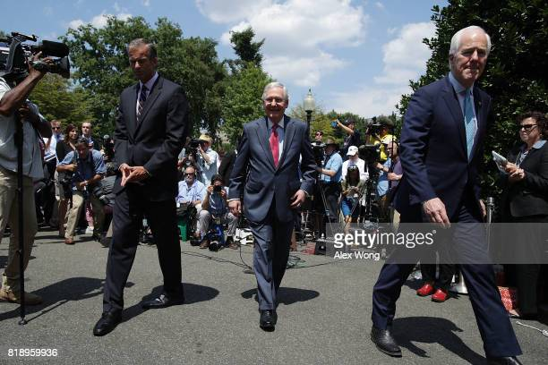 S Senate Majority Leader Sen Mitch McConnell Senate Majority Whip Sen John Cornyn and Sen John Thune leave after they spoke to members of the media...