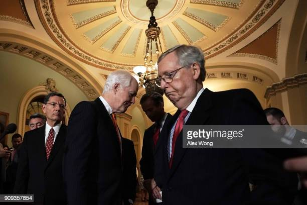 S Senate Majority Leader Sen Mitch McConnell Senate Majority Whip Sen John Cornyn and Sen John Barrasso during a media briefing after a weekly Senate...