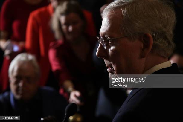 S Senate Majority Leader Sen Mitch McConnell speaks to members of the media during a news briefing after the weekly Senate Republican Policy Luncheon...