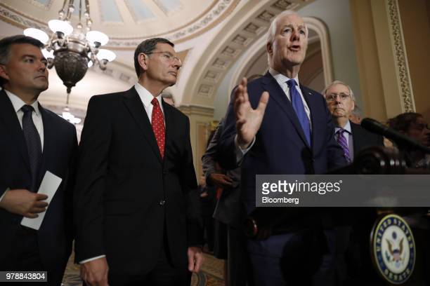 Senate Majority Whip John Cornyn a Republican from Texas right speaks during a news conference ahead of a Senate weekly luncheon meeting at the US...