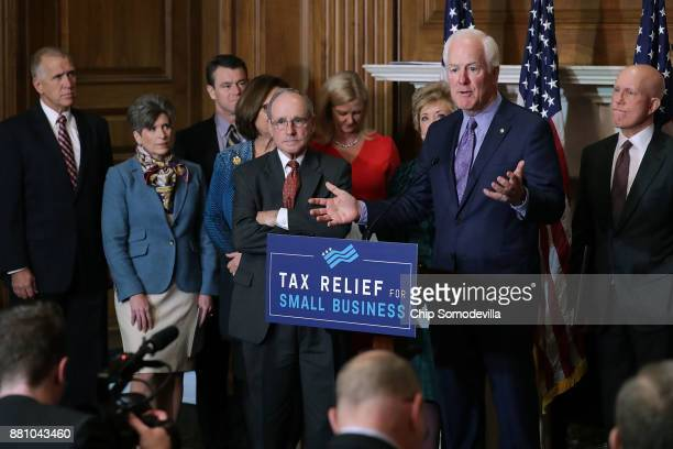Senate Majority Whip John Cornyn speaks during a news conference with Small Business and Entrepreneurship Committee Chairman James Risch fellow GOP...