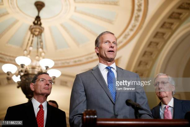Senate Majority Whip John Thune delivers remarks during the Weekly Senate Policy Luncheon Press Conferences on June 25, 2019 on Capitol Hill in...
