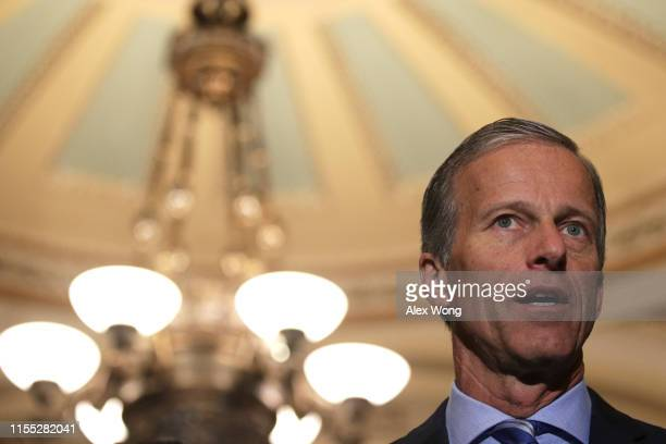 Senate Majority Whip John Thune speaks during a news briefing after the weekly Senate Republican policy luncheon June 11, 2019 at the U.S. Capitol in...