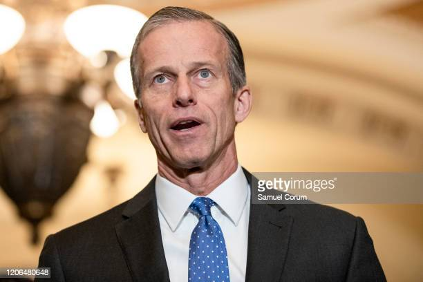 Senate Majority Whip John Thune speaks to reporters following the Senate Republican policy luncheon which both President Donald Trump and Vice...