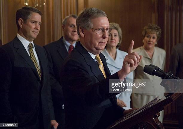Senate Majority Whip Mitch McConnell RKy Sen Jon Kyl RAriz Senate Majority Leader Bill Frist RTenn Sen Kay Bailey Hutchison RTexas and Sen Elizabeth...