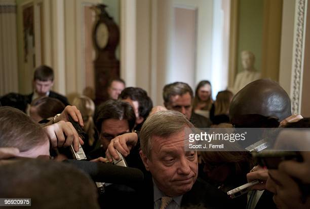Senate Majority Whip Richard J Durbin DIll talks to reporters after the Democratic policy luncheon a day after Republican Scott Brown's upset victory...