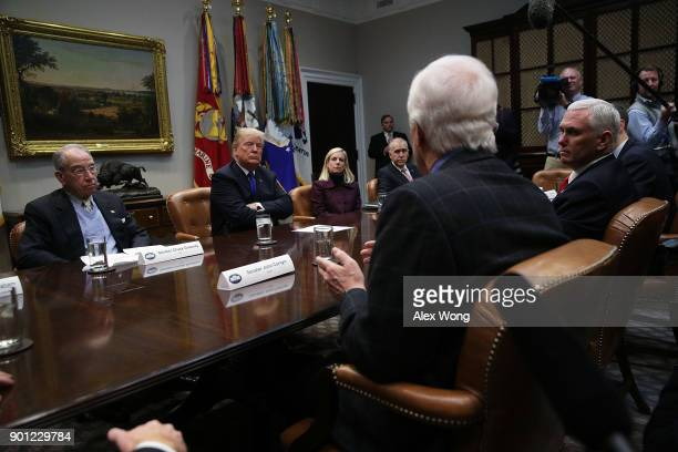 US Senate Majority Whip Sen John Cornyn speaks as Sen Chuck Grassley President Donald Trump Homeland Security Secretary Kirstjen Nielsen Sen Thom...