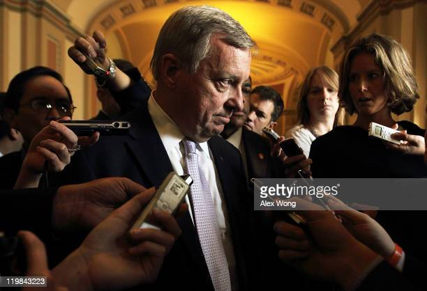S Senate Majority Whip Sen Richard Durbin answers questions from members of the media after a caucus with Senate Democrats July 25 2011 on Capitol...