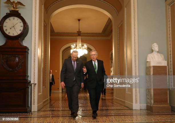 Senate Minority Leader Charles Schumer and Senate Majority Leader Mitch McConnell walk sidebyside to the Senate Chamber at the US Capitol February 7...