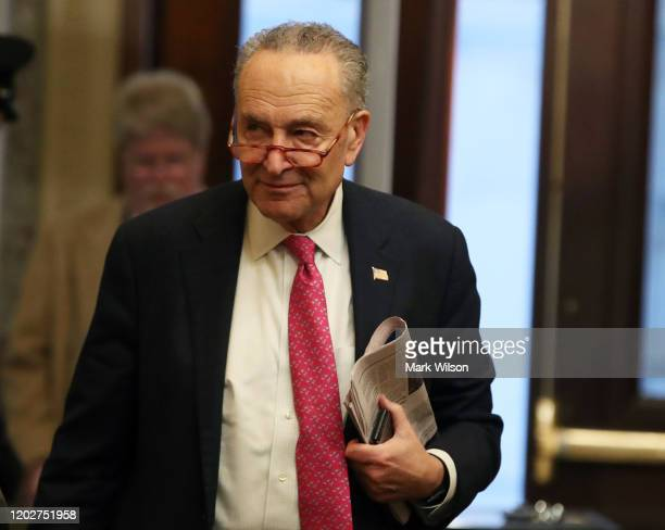 Senate Minority Leader Charles Schumer arrives for the Senate impeachment trial at the US Capitol on January 29 2020 in Washington DC Wednesday...