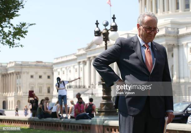Senate Minority Leader Charles Schumer attends an event with fellow Democrats to unveil 'A Better Deal On Trade and Jobs' in front of the US Capitol...