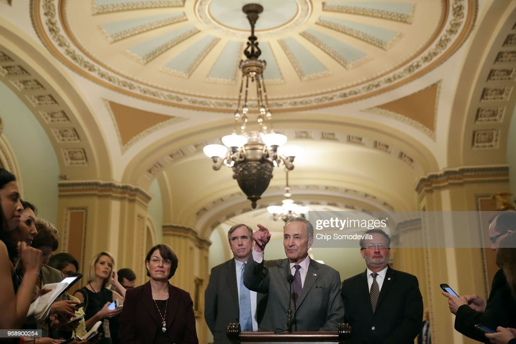 Senate Minority Leader Charles Schumer (D-NY) (C) calls on reporters following the weekly Senate Democratic policy luncheon with (L-R) Sen. Amy Klbuchar (D-MN), Sen. Jeff Merkley (D-OR) and Sen. Greg Peters (D-MI) at the U.S. Capitol May 15, 2018 in Washington, DC. U.S. President Donald Trump joined Senate Republicans during their luncheon and talked about the robust economy and the opening of the new U.S. embassy in Jerusalem.