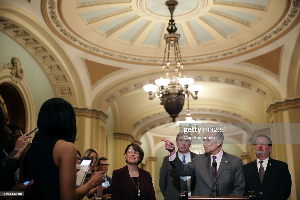 Senate Minority Leader Charles Schumer (D-NY) (2nd R) calls on reporters following the weekly Senate Democratic policy luncheon with (L-R) Sen. Amy Klbuchar (D-MN), Sen. Jeff Merkley (D-OR) and Sen. Greg Peters (D-MI) at the U.S. Capitol May 15, 2018 in Washington, DC. U.S. President Donald Trump joined Senate Republicans during their luncheon and talked about the robust economy and the opening of the new U.S. embassy in Jerusalem.