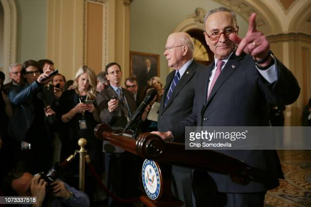 Senate Minority Leader Charles Schumer calls on reporters with Sen Patrick Leahy following the weekly Democratic Senate policy luncheon in the US...
