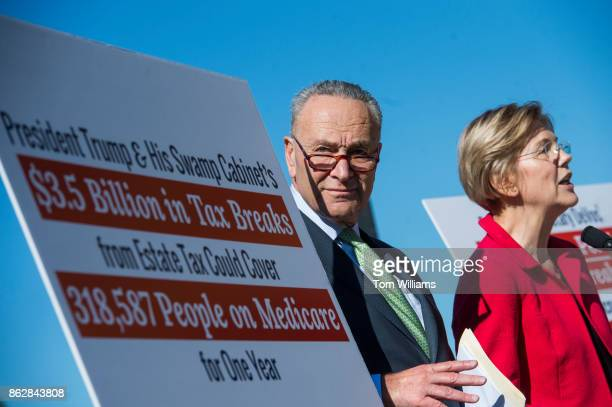 Senate Minority Leader Charles Schumer DNY and Sen Elizabeth Warren DMass conduct a news conference on the east lawn of the Capitol on a CAP Action...