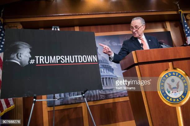 Senate Minority Leader Charles Schumer DNY conducts a news conference in the Capitol as Congress works on a solution to end the government shutdown...