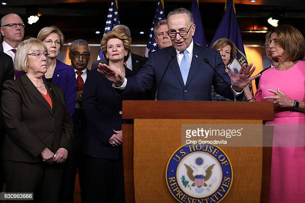 Senate Minority Leader Charles Schumer is joined by fellow Democrats from both the House and Senate including House Minority Leader Nancy Pelosi...