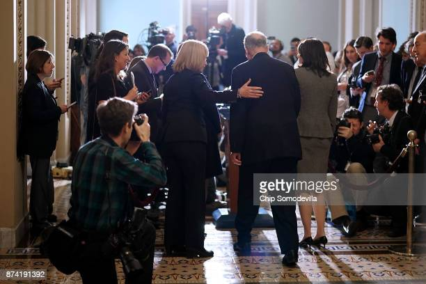 Senate Minority Leader Charles Schumer Sen Maria Cantwell Sen Maggie Hassan and Sen Amy Klobuchar talk to reporters following the weekly Senate...