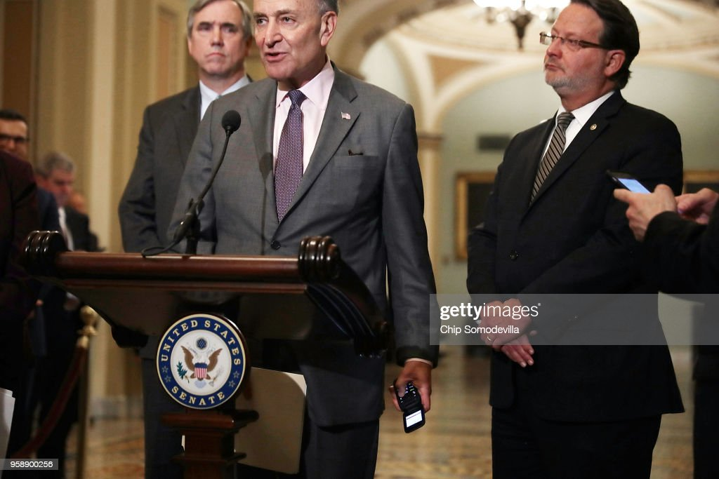Senate Minority Leader Charles Schumer (D-NY) silences his flip phone after is started to ring while answering reporters' questions following the weekly Senate Democratic policy luncheon at the U.S. Capitol May 15, 2018 in Washington, DC. U.S. President Donald Trump joined Senate Republicans during their luncheon and talked about the robust economy and the opening of the new U.S. embassy in Jerusalem.