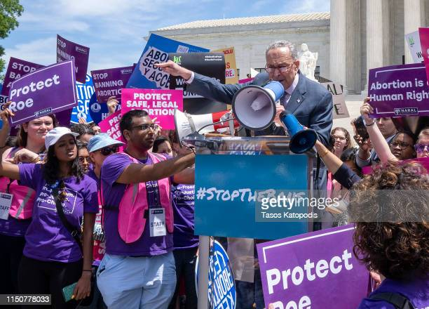 Senate Minority Leader Charles Schumer, speaks at a pro-choice rally at the Supreme Court on May 21, 2019 in Washington, DC. The Alabama law, signed...