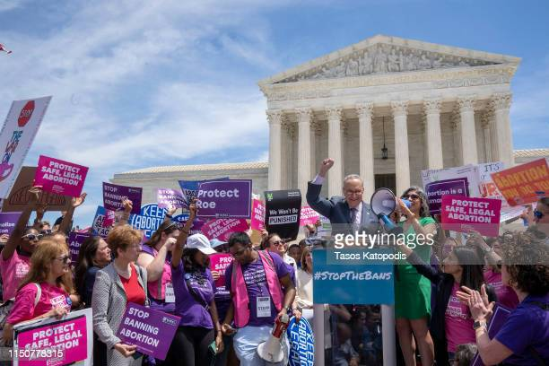 Senate Minority Leader Charles Schumer speaks at a prochoice rally at the Supreme Court on May 21 2019 in Washington DC The Alabama abortion law...