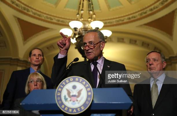 S Senate minority leader Charles Schumer speaks to reporters during a news conference on Capitol Hill following a procedural vote on the GOP health...