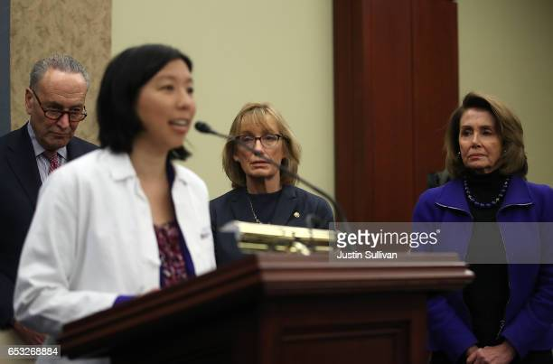 Senate Minority Leader Charles Schumer US Sen Maggie Hassan and House Minority Leader Nancy Pelosi look on as Dr Alice Chen speaks during a news...