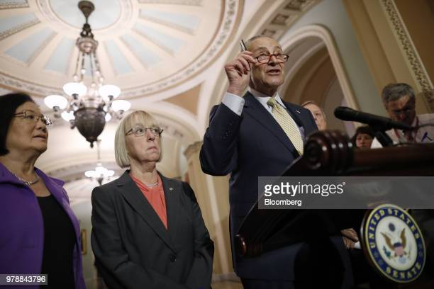Senate Minority Leader Chuck Schumer a Democrat from New York right speaks during a news conference following a Senate weekly luncheon meeting at the...