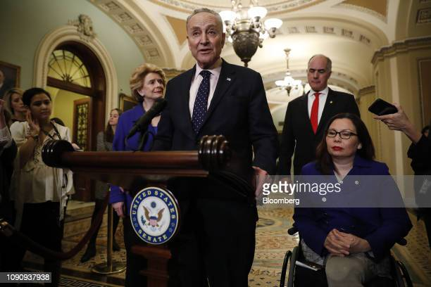 Senate Minority Leader Chuck Schumer a Democrat from New York speaks during a news conference following a weekly policy luncheon on Capitol Hill in...