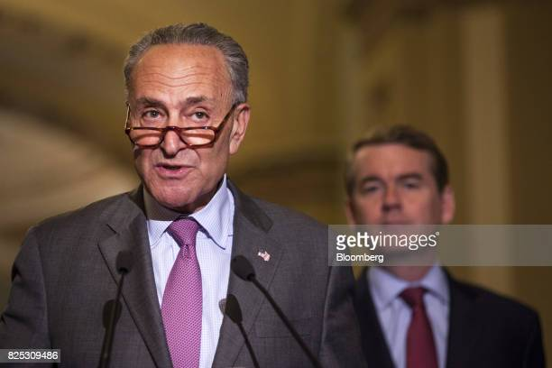Senate Minority Leader Chuck Schumer a Democrat from New York speaks during a news conference after a weekly Democratic luncheon meeting at the US...