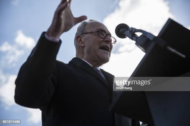 Senate Minority Leader Chuck Schumer a Democrat from New York speaks to students outside the US Capitol building during the ENOUGH National School...
