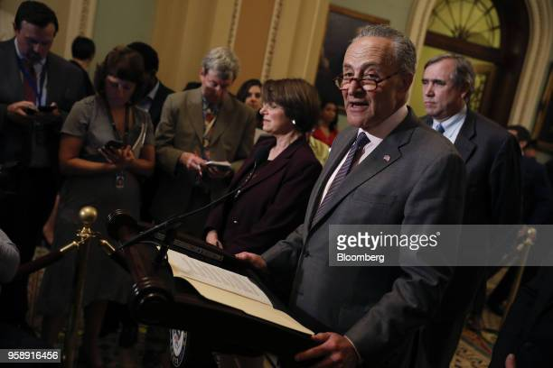 Senate Minority Leader Chuck Schumer a Democrat from New York speaks during a news conference after a Senate Democratic weekly luncheon meeting at...