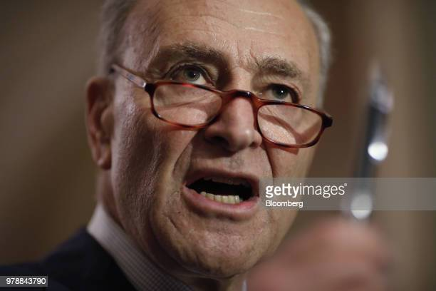 Senate Minority Leader Chuck Schumer a Democrat from New York speaks during a news conference following a Senate weekly luncheon meeting at the US...