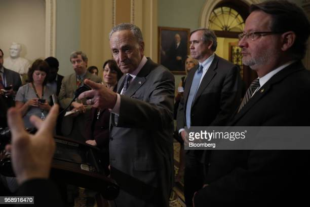 Senate Minority Leader Chuck Schumer a Democrat from New York takes a question during a news conference after a Senate Democratic weekly luncheon...