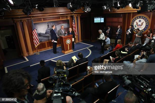 Senate Minority Leader Chuck Schumer accompanied by Sen Ron Wyden and Sen Patty Murray speaks during a press conference at the US Capitol July 13...