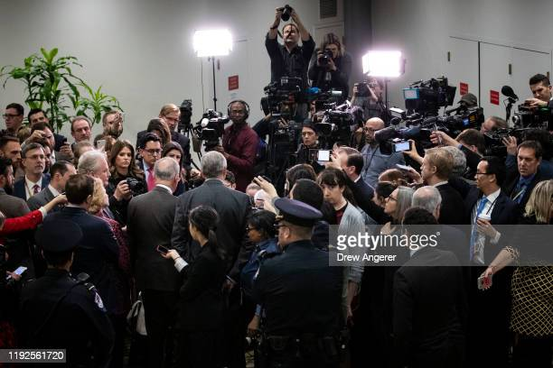 Senate Minority Leader Chuck Schumer along with fellow Senate Democrats speaks to the press following a briefing with administration officials about...