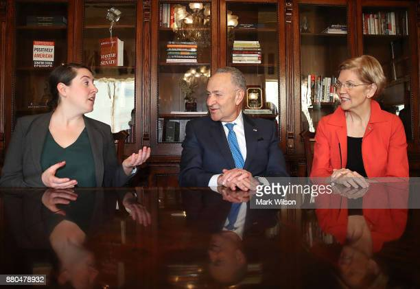 Senate Minority Leader Chuck Schumer and Sen Elizabeth Warren meet with Leandra English current acting director of the CFPB at the US Capitol on...