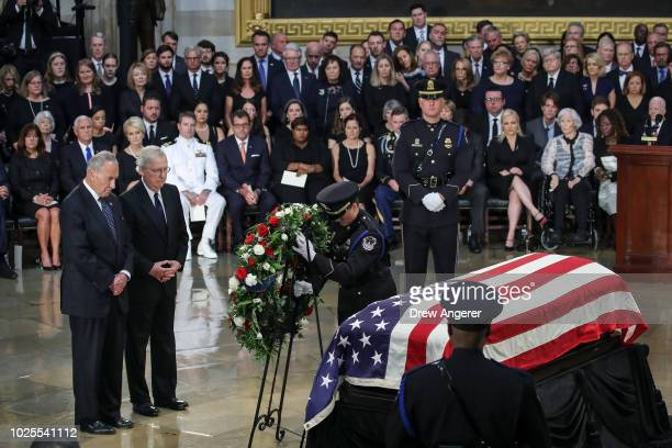 Senate Minority Leader Chuck Schumer and Senate Majority Leader Mitch McConnell pay their respects to the casket of the late US Senator John McCain...