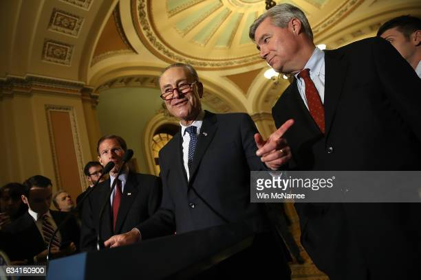 Senate Minority Leader Chuck Schumer answers questions at the US Capitol February 7 2017 in Washington DC Schumer and members of the Senate...