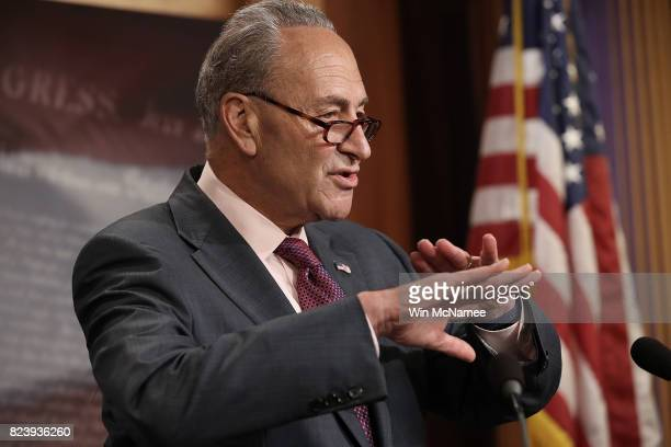Senate Minority Leader Chuck Schumer answers questions during a press conference at the US Capitol on the result of today's early morning Senate vote...